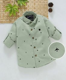 Jash Kids Full Sleeves Cotton Printed Shirt - Light Olive Green