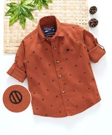Jash Kids Full Sleeves Printed Shirt - Brown