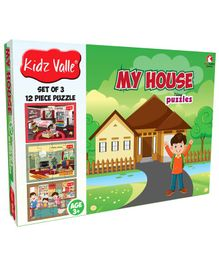 Kidz Valle My House Jigsaw Puzzle - Set of 3 12 Piece Puzzle