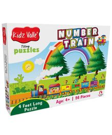 Kidz Valle Number Train 4 Feet Long Tiling Jigsaw Puzzle - 56 Pieces