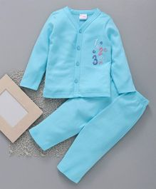 Popees Full Sleeves Cotton Night Suit Numbers Patch - Light Blue