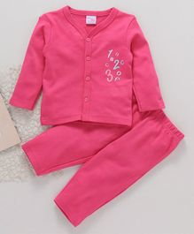 Popees Full Sleeves Night Suit Numbers Patch - Pink