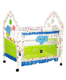 Mee Mee Metal Baby Cot with Mosquito Net Elephant Design - Green