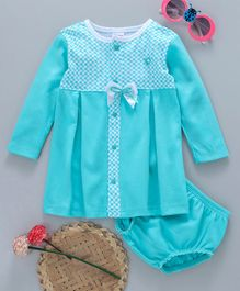 Popees Cotton Full Sleeves Frock With Bloomer Bow Applique - Sea Green