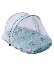 Fisher Price Baby Mattress With Mosquito Net & Pillow Panda Print - Blue