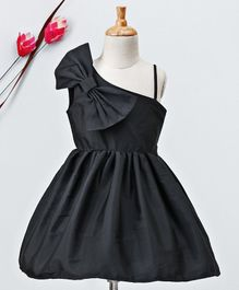 Kidsdew Sleeveless Dress Bow Applique - Black