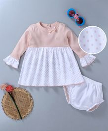 Popees Cotton Full Sleeves Frock And Bloomer Bow Applique- White Peach
