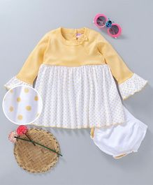 Popees  Cotton Full Sleeves Frock And Bloomer Bow Applique- White Light Yellow