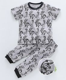 Earth Conscious Dinosaur Print Half Sleeves Night Suit Set - Grey