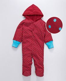 Earth Conscious Full Sleeves Polka Dot Printed Hooded Romper - Red