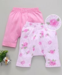 Earth Conscious Half Length Rose Printed Pack Of Two Diaper Pants - Pink