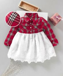 Little Kangaroos Party Wear Full Sleeves Check Frock Lace Detailing - Red White