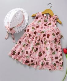Kookie Kids Leaves Printed Sleeveless Dress With Hat - Pink