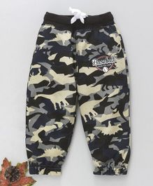 Cucumber Full Length Lounge Pant Dino & Baseball Print - Cream Black