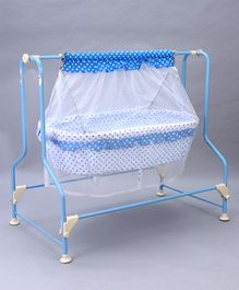 New Natraj Cocoon Baby Cradle Polka Dot Print - White & Blue
