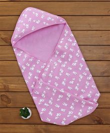 Baby Naturelle & Me Hooded Baby Blanket Doggy Print - Pink