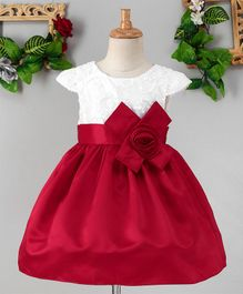Mark & Mia Bow At The Waist Cap Sleeves Dress - Red
