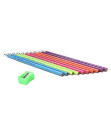 Kores Funcils Trilo Extra Dark Triangular Pencils & Sharpener Multicolor - Pack of 10