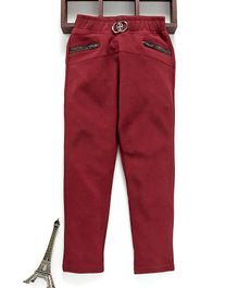 Button Noses Full Length Solid Jeggings - Maroon