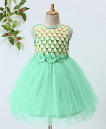 Toy Balloon Petal Embellished Flower Applique Sleeveless Flare Dress - Sea Green