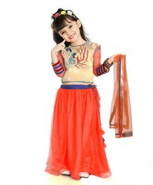 Little Pockets Store Bird Embroidered Choli & Lehenga With Dupatta  - Orange