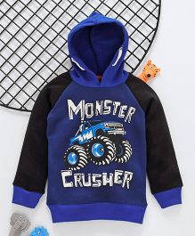 Lazy Shark Monster Crusher Printed Full Sleeves Hoodie  - Blue