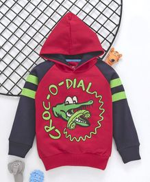 Lazy Shark Crocodile Print Full Sleeves Hoodie - Red