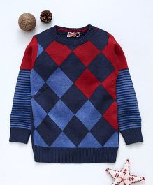 Game Begins Full Sleeves Sweater - Blue Red