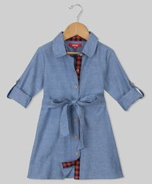 Olele Full Sleeves Chambray Dress - Blue