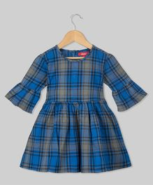 Olele Flared Sleeves Checked Dress - Blue