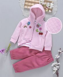 ToffyHouse Tee Corduroy Pant & Hooded Jacket Rainbow Patch - Pink