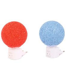 Skylofts LED Plug In Crystal Ball Night Lamp Orange Blue - Pack of 2