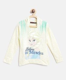 Nins Moda Full Sleeves Cartoon Printed Hooded Top - Cream