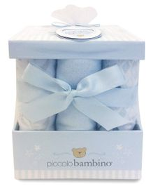 Piccolo Bambino Cotton Flannel Receiving Blankets Pack of 6 - Blue