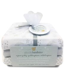 Piccolo Bambino Cotton Flannel Receiving Blankets Pack of 3 - Grey