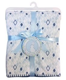 Honey Bunny Chamois Blanket Printed - Blue