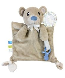 Honey Bunny Cuddly Pal Teether and Pacifier Holder- Brown