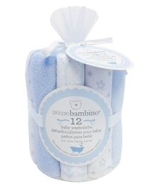 Piccolo Bambino Printed Wash Clothes Pack of 12 - BluePiccolo Bambino Printed Wash Clothes Pack of 8 - Blue