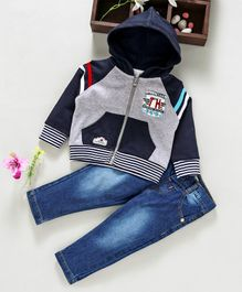 ToffyHouse Full Sleeves Hooded Jacket & Jeans Five Star Print - Blue