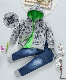 ToffyHouse Space Print Tee & Hooded Jacket With Pants Set - Grey Green Blue