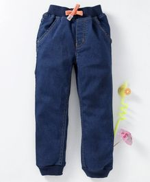 Babyhug Full Length Jogger Jeans With Drawstring - Blue