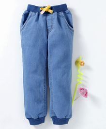 Babyhug Full Length Jogger Jeans With Drawstring - Light Blue