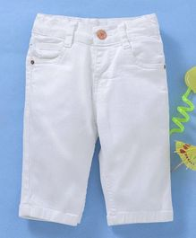 Babyhug Cotton Lycra Solid Colour Capri With Adjustable Elasticated Waist - White