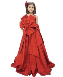 Flower Girl Flower Theme Sleeveless Frill Gown - Maroon