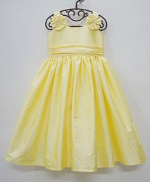 Flower Girl Back Bow Singlet Sleeves Frill Gown - Lemon Yellow