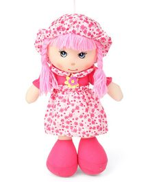 Karma Candy Doll With Floral Frock & Hat Fuchsia - Height 35 cm