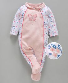 Babyoye Full Sleeves Cotton Footed Sleepsuit Butterfly Print - White Pink