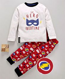 Lazy Bones Full Sleeves Night Suit Hero Print - Red