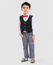 Spark 3 Piece Solid & Printed Party Suit With Bowtie - Black