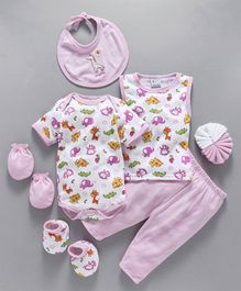 Montaly Baby Clothing Gift Set Animal Print Pink - 8 Pieces